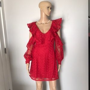 Red lace dress mini new 4  French connection